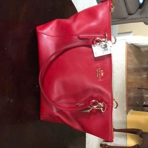 Coach Armr Leather Ava Tote - Classic Red - F38483